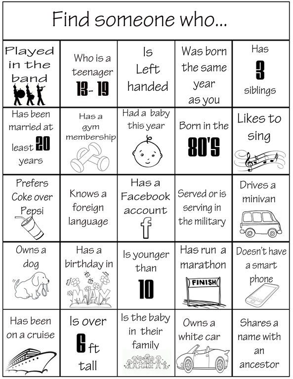 Find Someone Who… Reunion Bingo | Family Reunion Helper