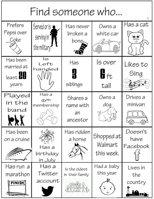 Family Reunion Bingo Is A Great Ice Breaker Activity For Reunions Or Parties Of Any Kind I Created Card Several Years Ago